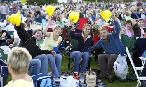 Crowds Scene Picnic to music in The Park Farnborough