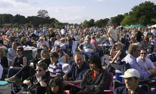 Crowds at Picnic to music in The Park Farnborough